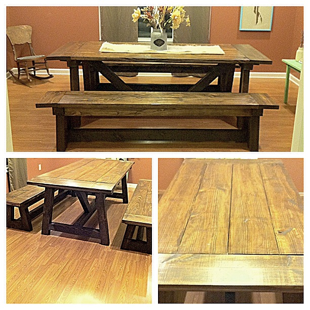 This is our DIY Farmhouse table. It was built by hand from scrap 4x4 timbers and wood. It's a great addition to our dining room.