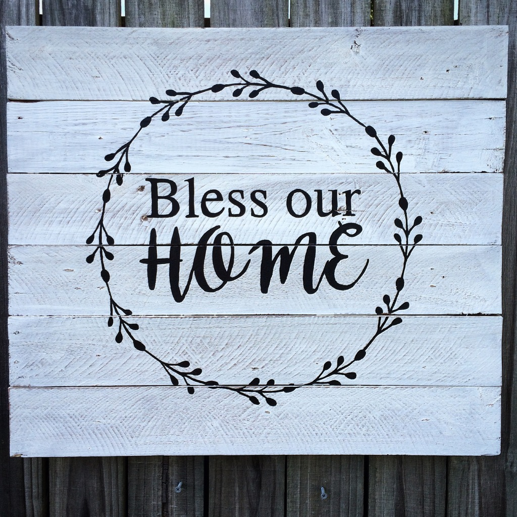 Bless Our Home black and white